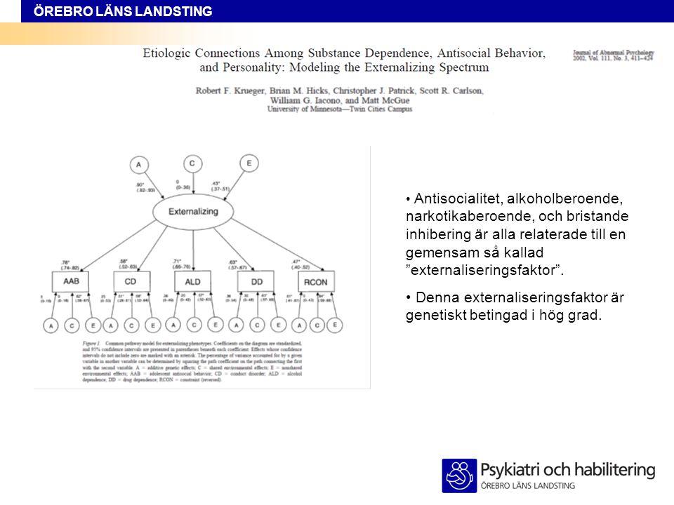 ÖREBRO LÄNS LANDSTING • Bristande impulskontroll är nära relaterat till substansmissbruk, antisocialitet, och AD/HD.