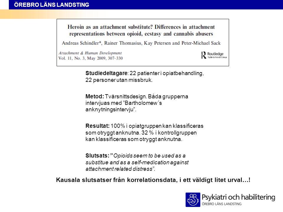 ÖREBRO LÄNS LANDSTING Studiedeltagare: 22 patienter i opiatbehandling, 22 personer utan missbruk. Metod: Tvärsnittsdesign. Båda grupperna intervjuas m