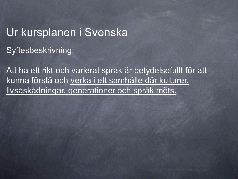 Ur kursplanen i Svenska Syftesbeskrivning: Att ha ett rikt och varierat språk är betydelsefullt för att kunna förstå och verka i ett samhälle där kult