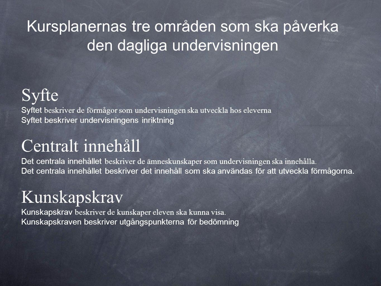 Syfte Syftet beskriver de förmågor som undervisningen ska utveckla hos eleverna Syftet beskriver undervisningens inriktning Centralt innehåll Det cent