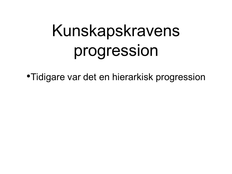 Kunskapskravens progression • Tidigare var det en hierarkisk progression