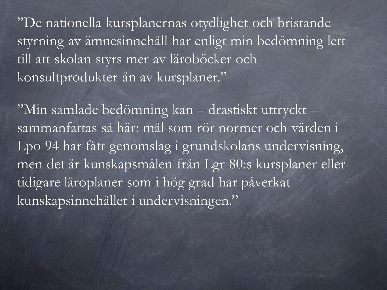Vad påverkar resultaten i svensk grundskola.