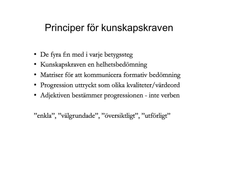 Principer för kunskapskraven