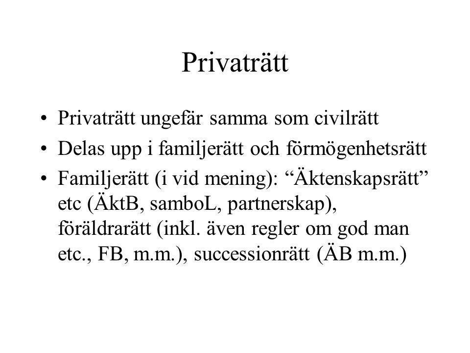 """Privaträtt •Privaträtt ungefär samma som civilrätt •Delas upp i familjerätt och förmögenhetsrätt •Familjerätt (i vid mening): """"Äktenskapsrätt"""" etc (Äk"""