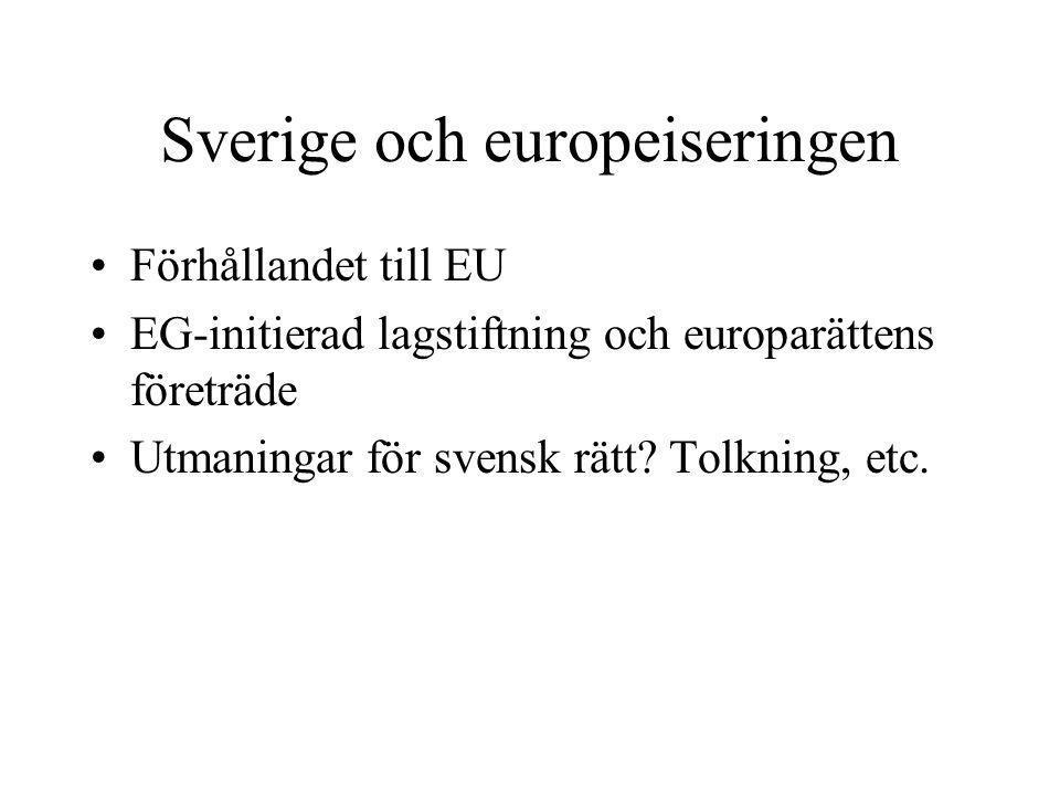 Sverige och europeiseringen •Förhållandet till EU •EG-initierad lagstiftning och europarättens företräde •Utmaningar för svensk rätt? Tolkning, etc.