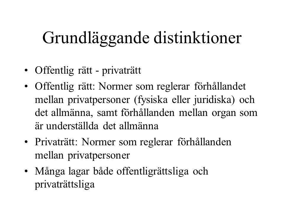 Grundläggande distinktioner •Offentlig rätt - privaträtt •Offentlig rätt: Normer som reglerar förhållandet mellan privatpersoner (fysiska eller juridi