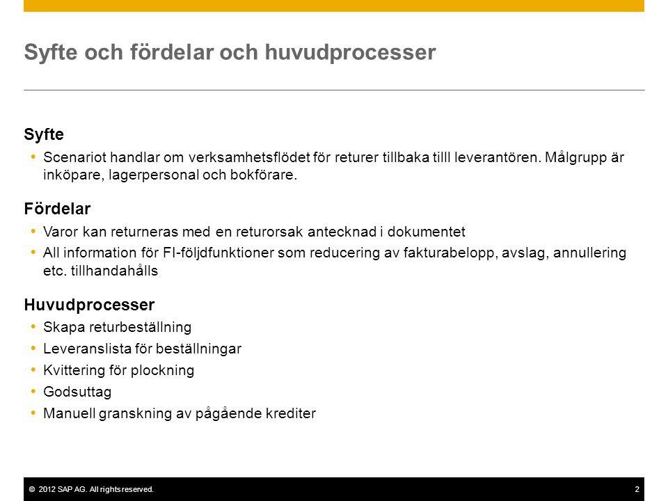 ©2012 SAP AG. All rights reserved.2 Syfte och fördelar och huvudprocesser Syfte  Scenariot handlar om verksamhetsflödet för returer tillbaka tilll le
