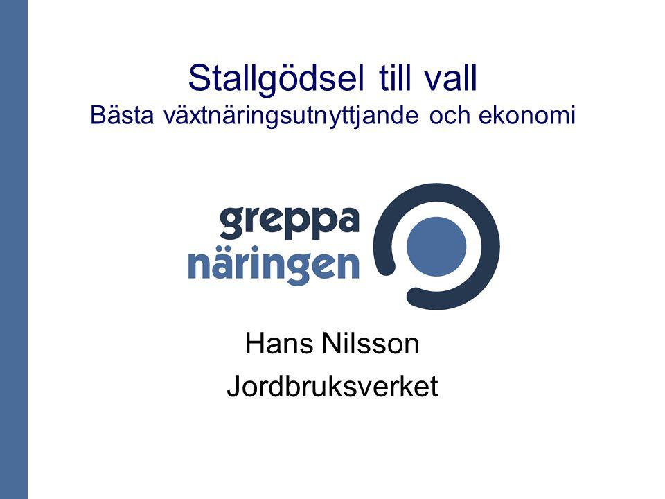 Stallgödsel till vall Bästa växtnäringsutnyttjande och ekonomi Hans Nilsson Jordbruksverket