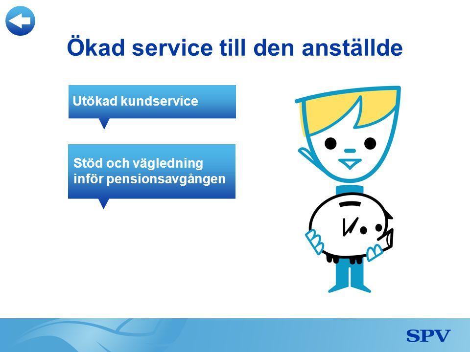 Stöd och vägledning inför pensionsavgången Utökad kundservice Ökad service till den anställde