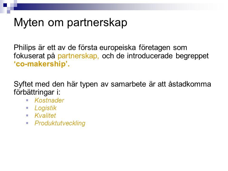 Myten om partnerskap Philips är ett av de första europeiska företagen som fokuserat på partnerskap, och de introducerade begreppet 'co-makership'. Syf