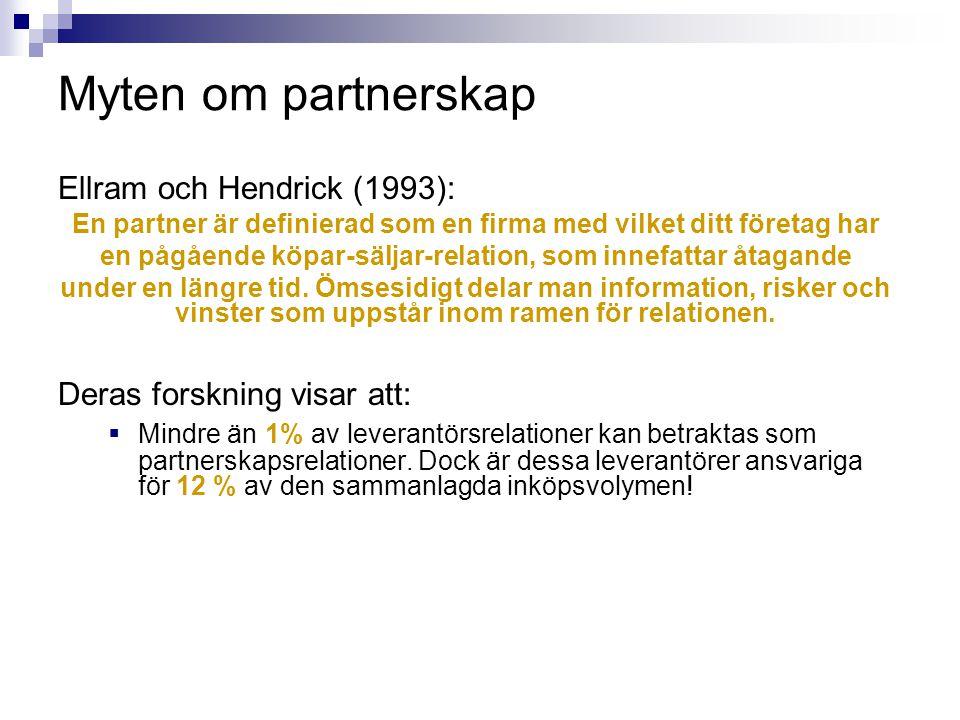 Myten om partnerskap Ellram och Hendrick (1993): En partner är definierad som en firma med vilket ditt företag har en pågående köpar-säljar-relation,
