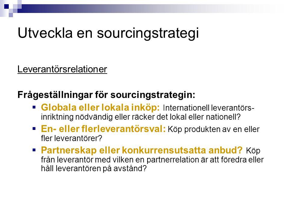 Utveckla en sourcingstrategi Leverantörsrelationer Frågeställningar för sourcingstrategin:  Globala eller lokala inköp: Internationell leverantörs- i