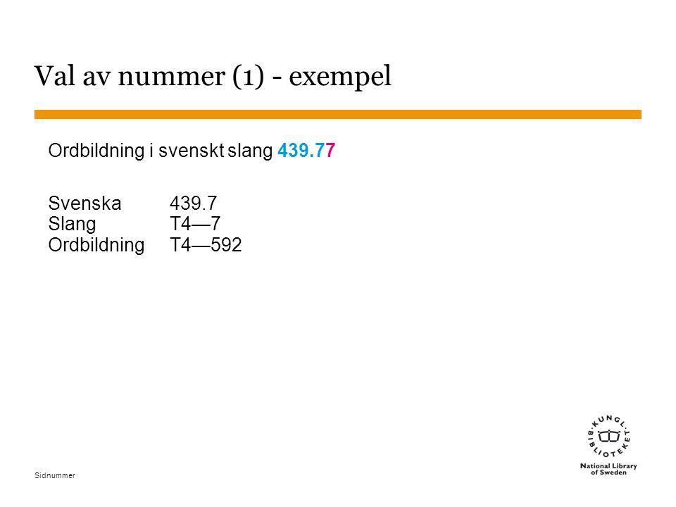 Sidnummer Val av nummer (1) - exempel Ordbildning i svenskt slang 439.77 Svenska439.7 SlangT4—7 OrdbildningT4—592