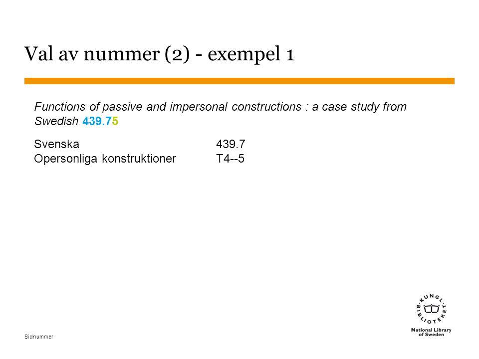 Sidnummer Val av nummer (2) - exempel 1 Functions of passive and impersonal constructions : a case study from Swedish 439.75 Svenska439.7 Opersonliga