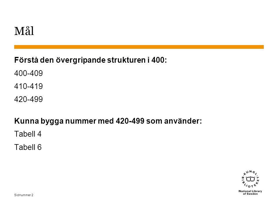 Sidnummer 2 Mål Förstå den övergripande strukturen i 400: 400-409 410-419 420-499 Kunna bygga nummer med 420-499 som använder: Tabell 4 Tabell 6