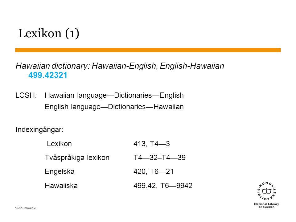 Sidnummer 28 Lexikon (1) Hawaiian dictionary: Hawaiian-English, English-Hawaiian 499.42321 LCSH: Hawaiian language—Dictionaries—English English langua