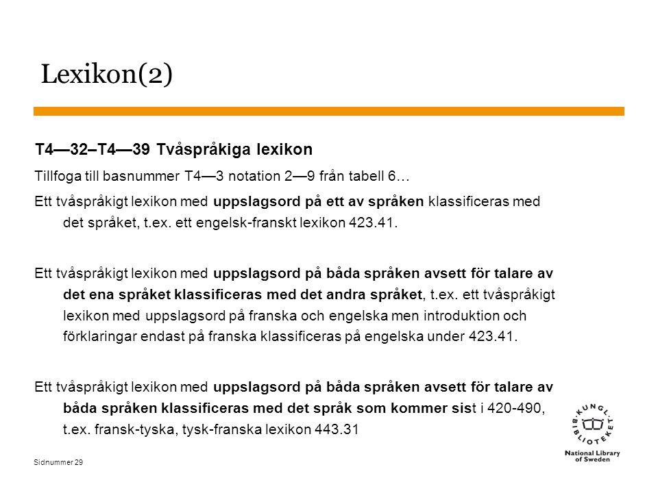 Sidnummer 29 Lexikon(2) T4—32–T4—39 Tvåspråkiga lexikon Tillfoga till basnummer T4—3 notation 2—9 från tabell 6… Ett tvåspråkigt lexikon med uppslagso