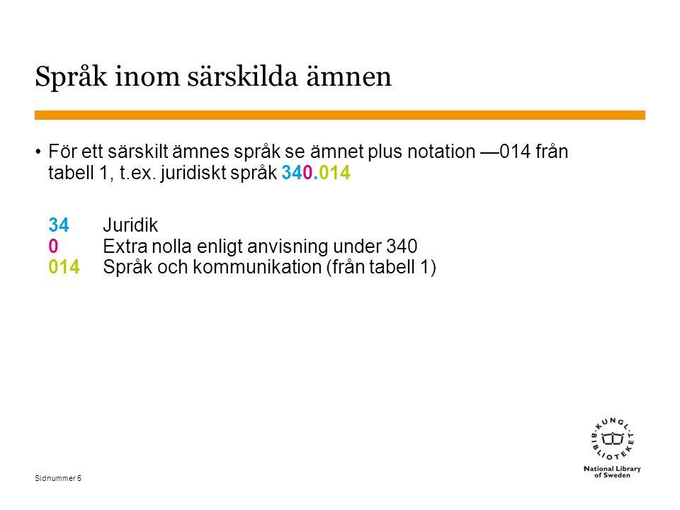 Sidnummer Språk inom särskilda ämnen •För ett särskilt ämnes språk se ämnet plus notation —014 från tabell 1, t.ex. juridiskt språk 340.014 34Juridik