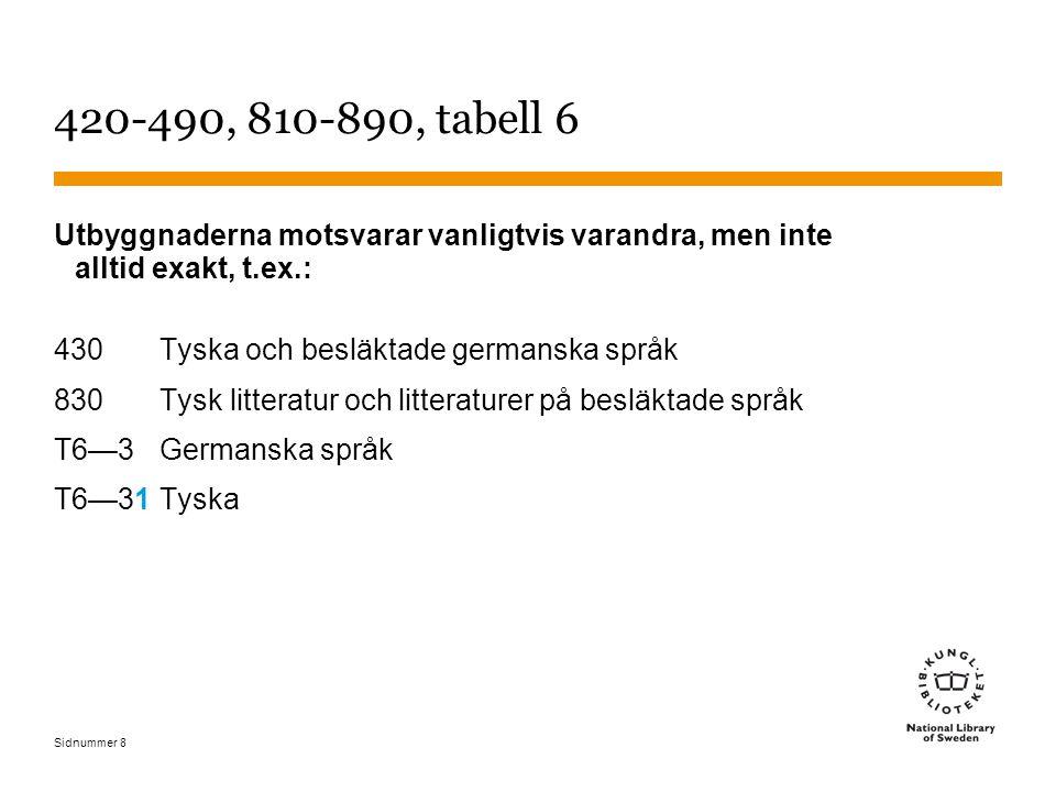 Sidnummer 8 420-490, 810-890, tabell 6 Utbyggnaderna motsvarar vanligtvis varandra, men inte alltid exakt, t.ex.: 430 Tyska och besläktade germanska s