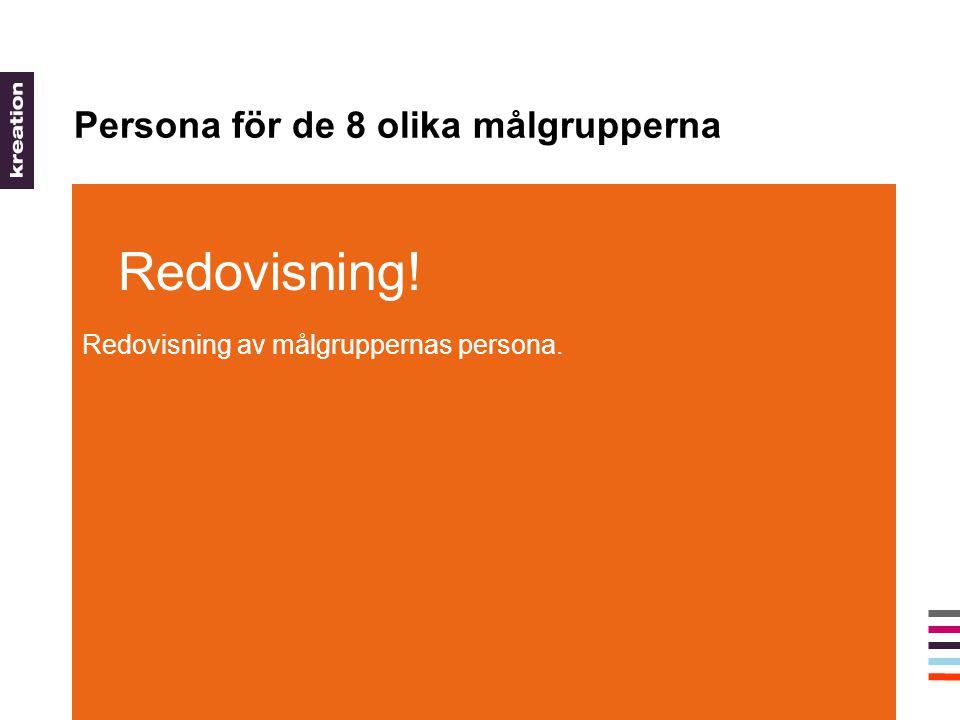 Persona för de 8 olika målgrupperna Redovisning! Redovisning av målgruppernas persona.
