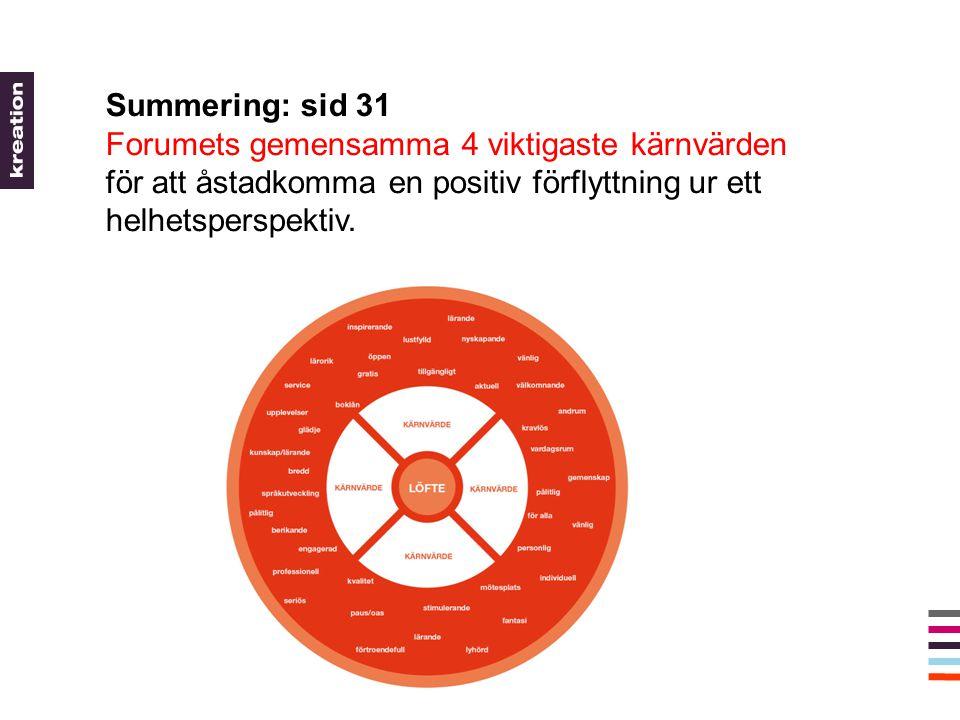 Summering: sid 31 Forumets gemensamma 4 viktigaste kärnvärden för att åstadkomma en positiv förflyttning ur ett helhetsperspektiv.