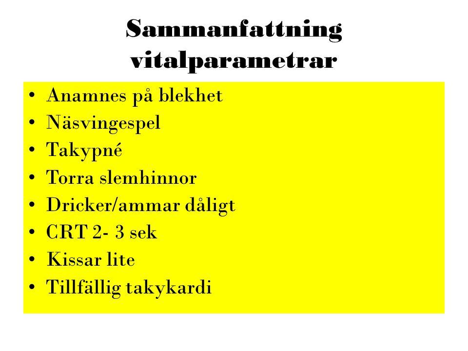 Sammanfattning vitalparametrar •Anamnes på blekhet •Näsvingespel •Takypné •Torra slemhinnor •Dricker/ammar dåligt •CRT 2- 3 sek •Kissar lite •Tillfäll