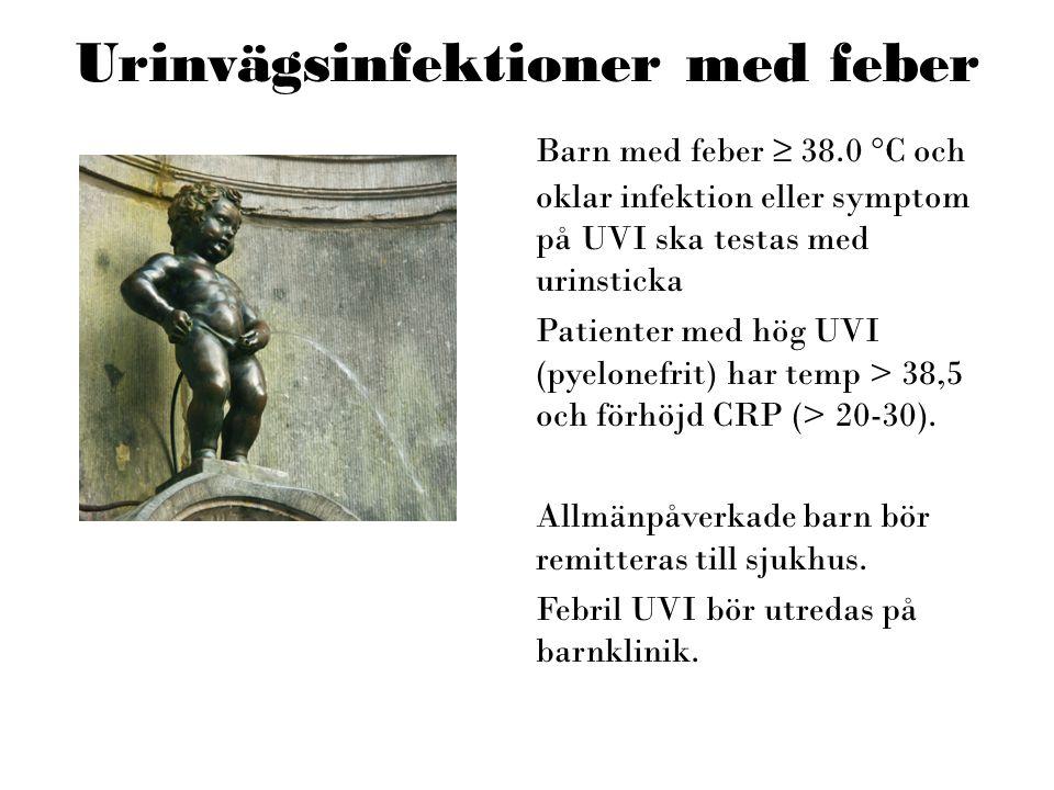 Urinvägsinfektioner med feber Barn med feber ≥ 38.0 °C och oklar infektion eller symptom på UVI ska testas med urinsticka Patienter med hög UVI (pyelo