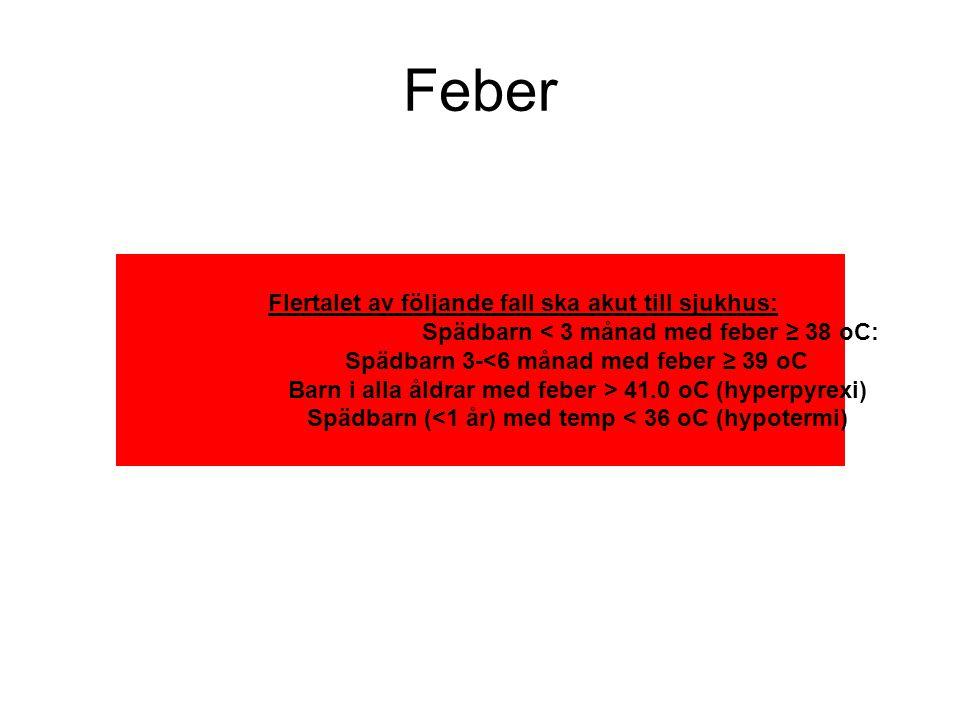 Feber Flertalet av följande fall ska akut till sjukhus: Spädbarn < 3 månad med feber ≥ 38 oC: Spädbarn 3-<6 månad med feber ≥ 39 oC Barn i alla åldrar