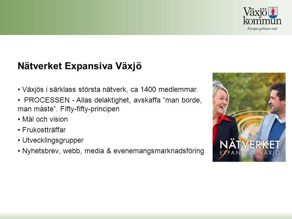 """• Växjös i särklass största nätverk, ca 1400 medlemmar. • PROCESSEN - Allas delaktighet, avskaffa """"man borde, man måste"""". Fifty-fifty-principen • Mål"""