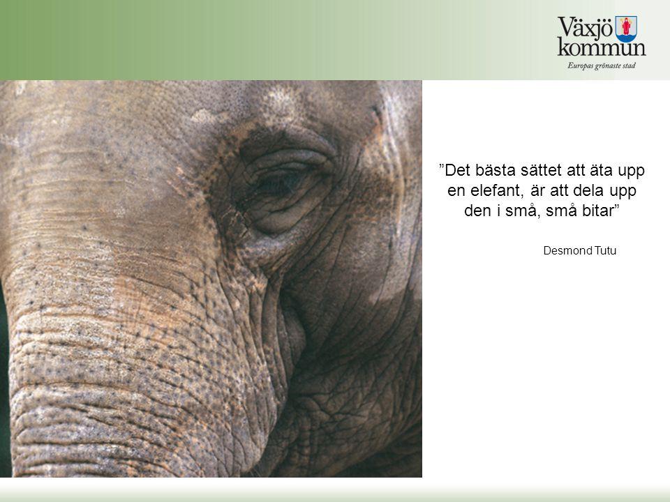 """""""Det bästa sättet att äta upp en elefant, är att dela upp den i små, små bitar"""" Desmond Tutu"""