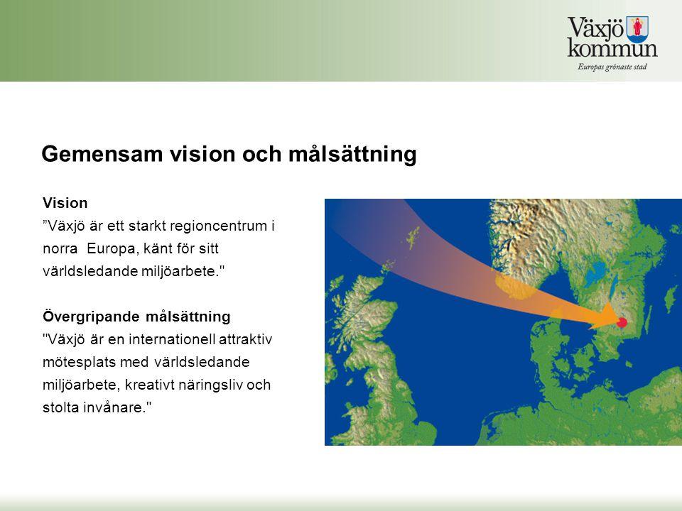 """Vision """"Växjö är ett starkt regioncentrum i norra Europa, känt för sitt världsledande miljöarbete."""