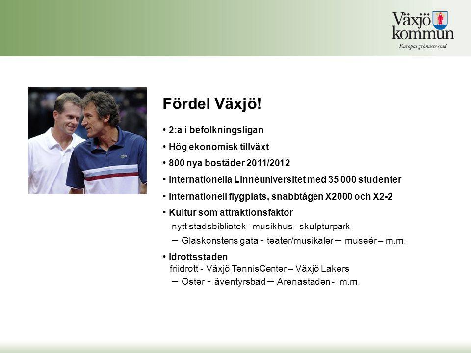 Fördel Växjö! • 2:a i befolkningsligan • Hög ekonomisk tillväxt • 800 nya bostäder 2011/2012 • Internationella Linnéuniversitet med 35 000 studenter •