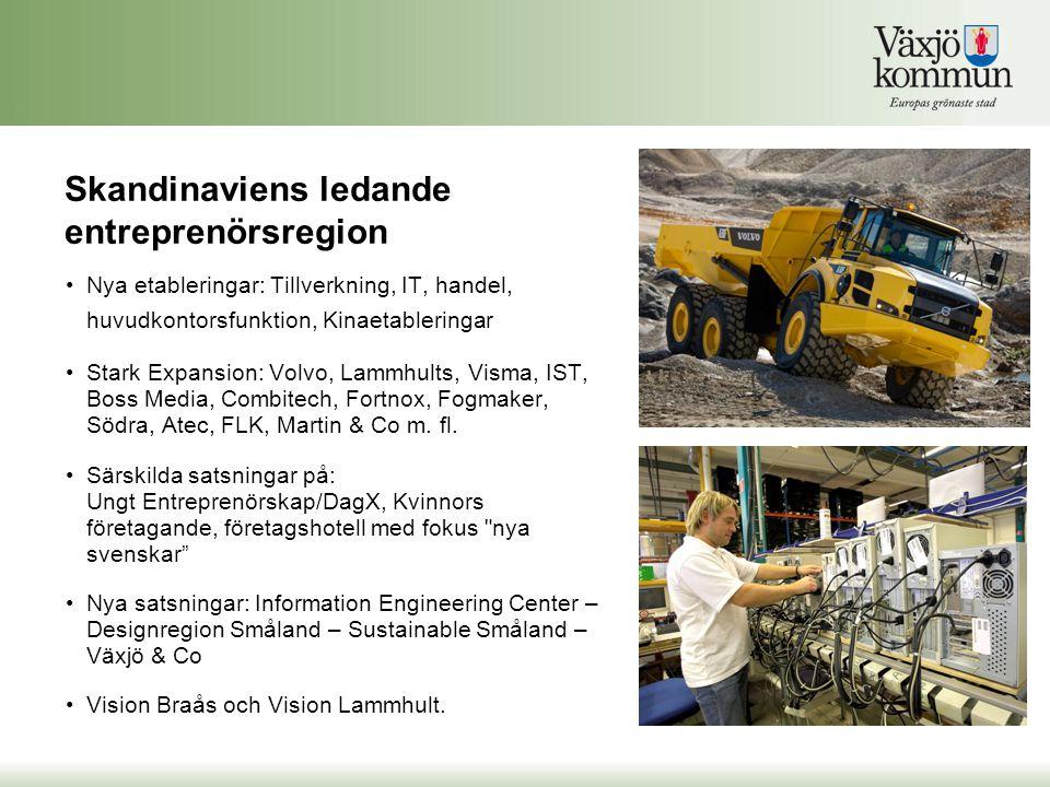 •Nya etableringar: Tillverkning, IT, handel, huvudkontorsfunktion, Kinaetableringar •Stark Expansion: Volvo, Lammhults, Visma, IST, Boss Media, Combit