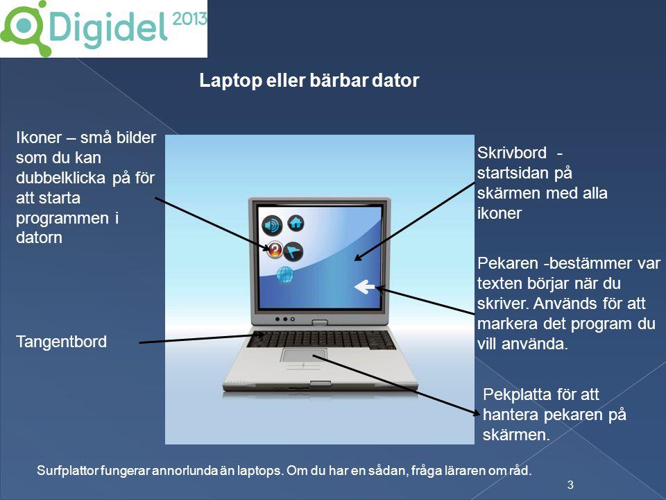 3 Laptop eller bärbar dator Skrivbord - startsidan på skärmen med alla ikoner Ikoner – små bilder som du kan dubbelklicka på för att starta programmen