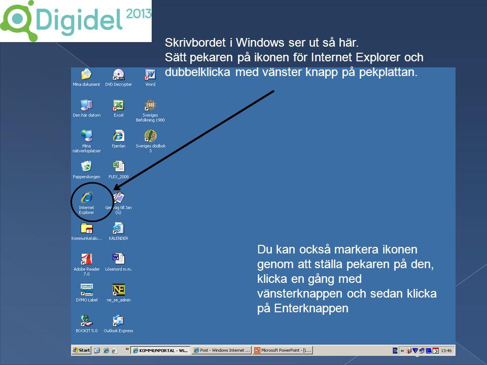 6 Skrivbordet i Windows ser ut så här. Sätt pekaren på ikonen för Internet Explorer och dubbelklicka med vänster knapp på pekplattan. Du kan också mar