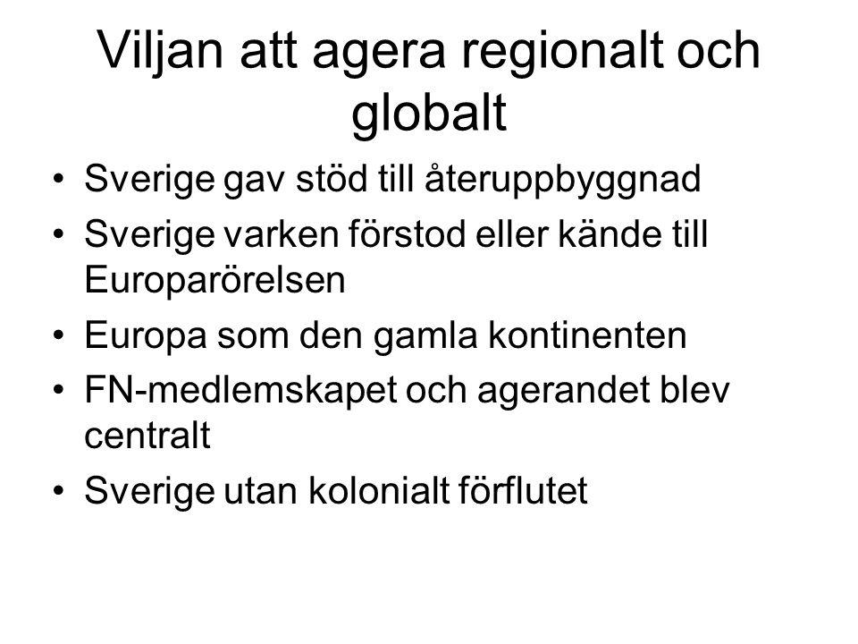 Viljan att agera regionalt och globalt •Sverige gav stöd till återuppbyggnad •Sverige varken förstod eller kände till Europarörelsen •Europa som den g