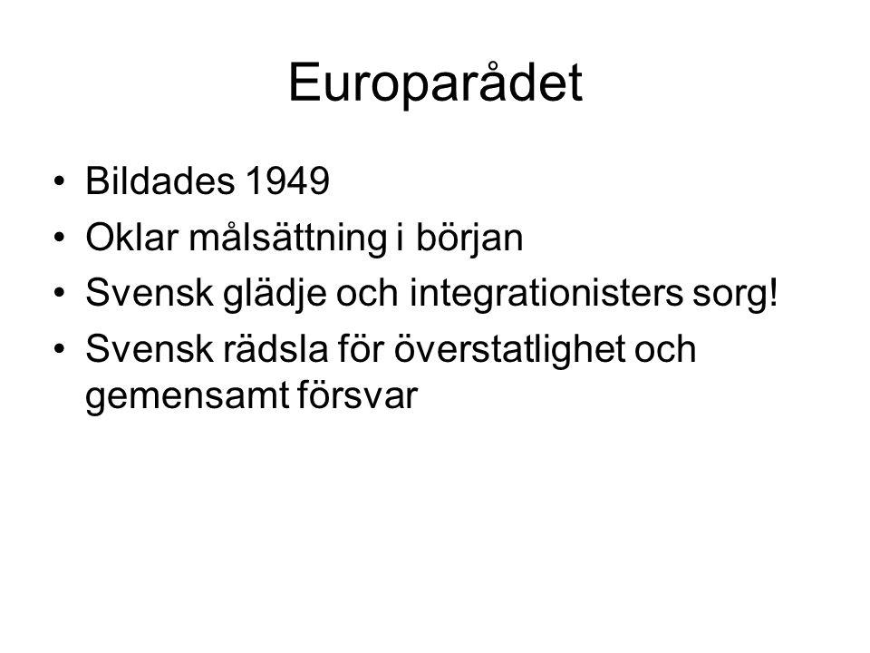 Europarådet •Bildades 1949 •Oklar målsättning i början •Svensk glädje och integrationisters sorg! •Svensk rädsla för överstatlighet och gemensamt förs