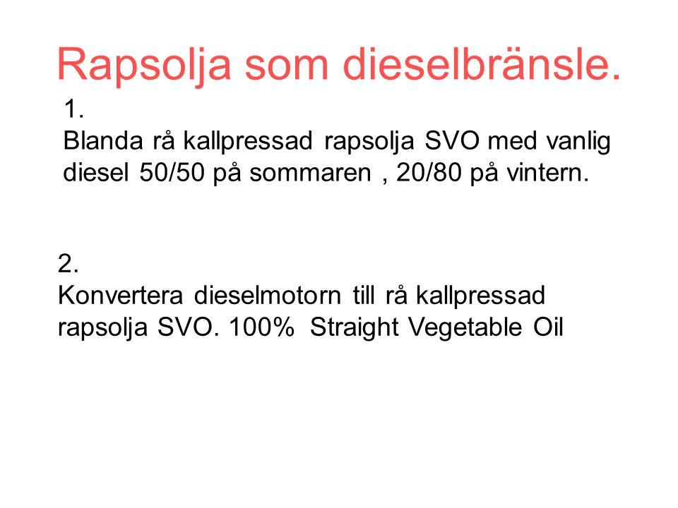 1. Blanda rå kallpressad rapsolja SVO med vanlig diesel 50/50 på sommaren, 20/80 på vintern.