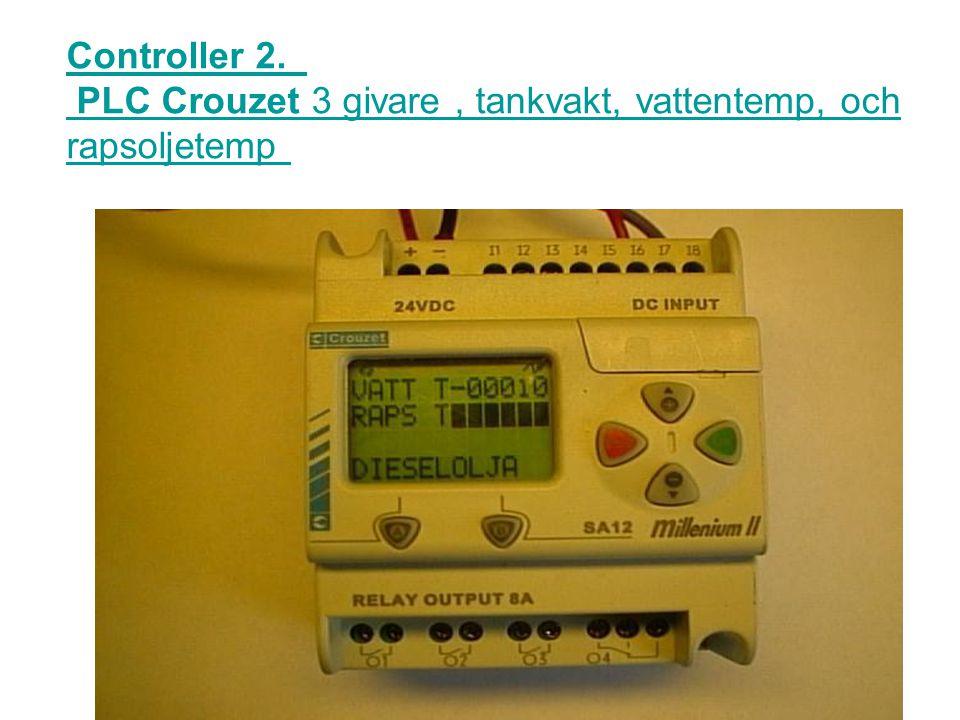 Controller 1. Logik processor 3 givare, tanknivå, vattentemp, och rapsoljetemp