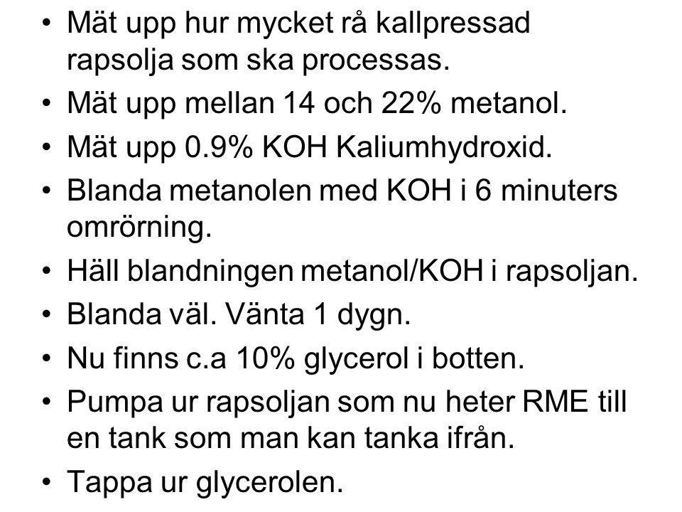 RME kan tillverkas av rå kallpressad rapsolja. Det är mycket enkelt att göra RME av kallpressad olja. Inget vatten. Inga fria fettsyror. Inget fosfor.