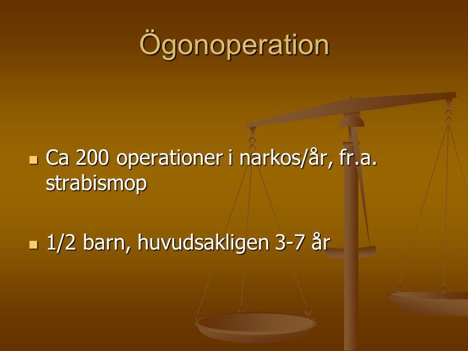 Ögonoperation  Ca 200 operationer i narkos/år, fr.a. strabismop  1/2 barn, huvudsakligen 3-7 år