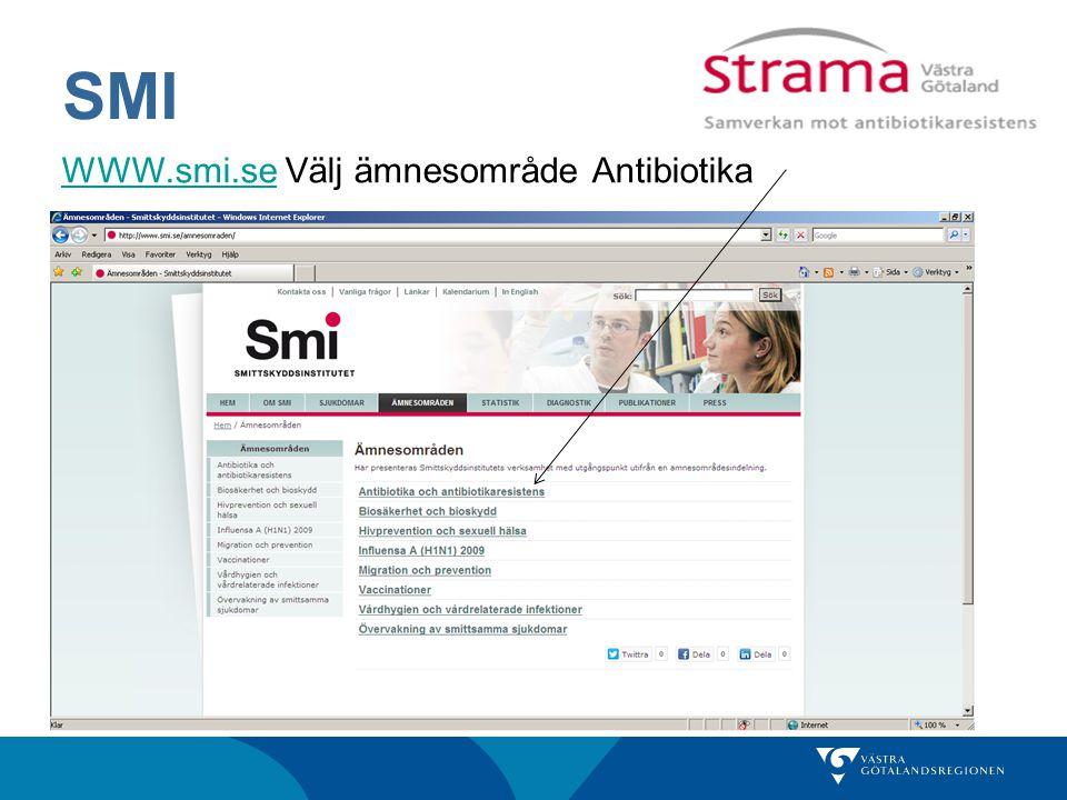 SMI WWW.smi.seWWW.smi.se Välj ämnesområde Antibiotika