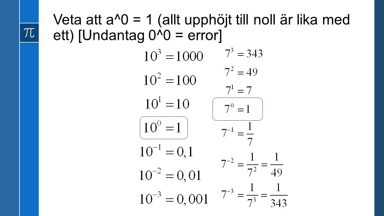 Veta att a^0 = 1 (allt upphöjt till noll är lika med ett) [Undantag 0^0 = error]