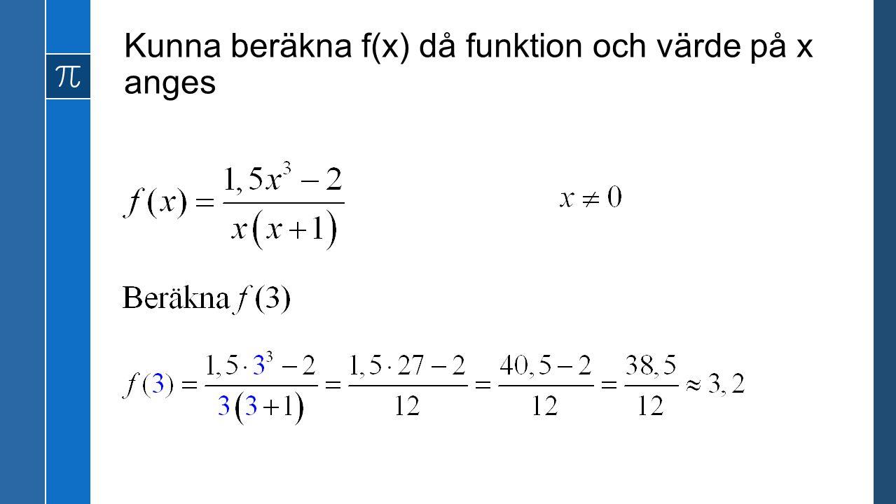 Kunna beräkna f(x) då funktion och värde på x anges