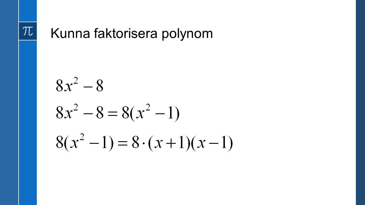 Kunna faktorisera polynom