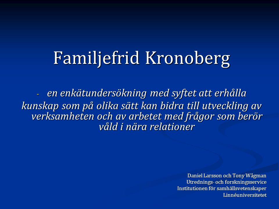 Familjefrid Kronoberg - en enkätundersökning med syftet att erhålla kunskap som på olika sätt kan bidra till utveckling av verksamheten och av arbetet