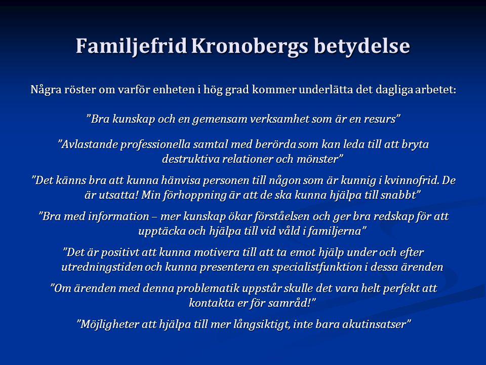 """Familjefrid Kronobergs betydelse Några röster om varför enheten i hög grad kommer underlätta det dagliga arbetet: """"Bra kunskap och en gemensam verksam"""