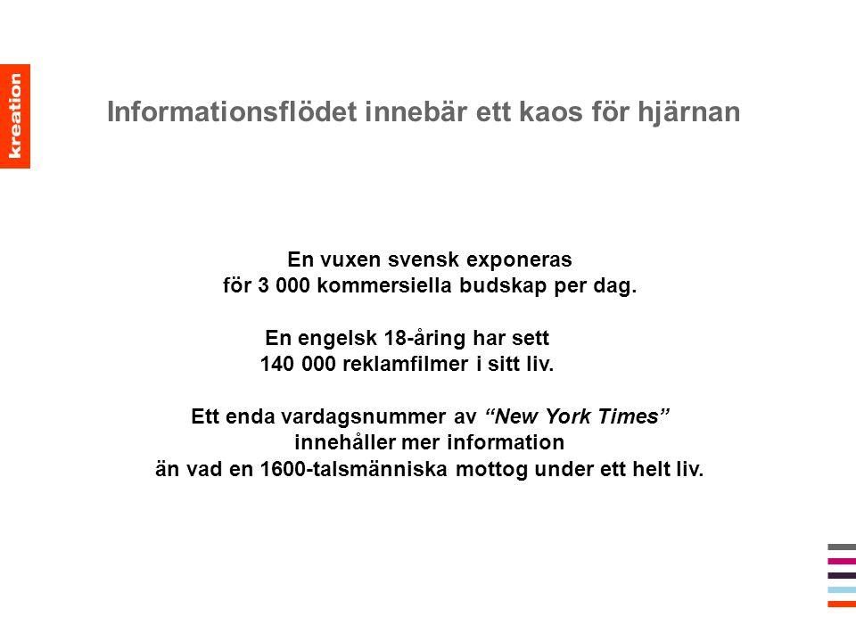 Informationsflödet innebär ett kaos för hjärnan En vuxen svensk exponeras för 3 000 kommersiella budskap per dag. En engelsk 18-åring har sett 140 000