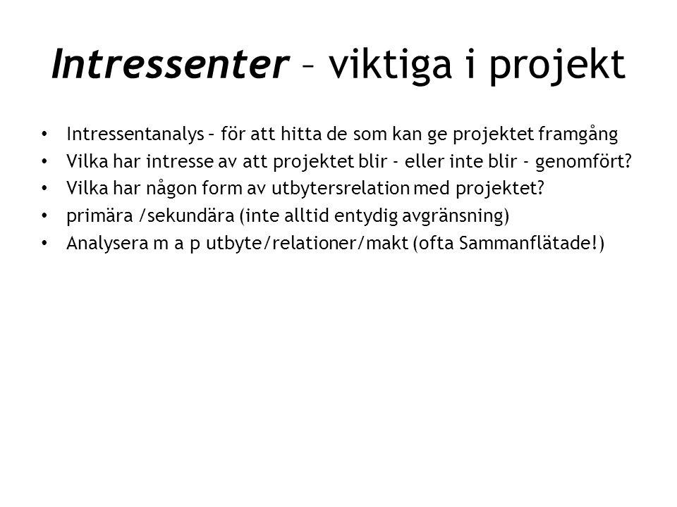 Intressenter – viktiga i projekt • Intressentanalys – för att hitta de som kan ge projektet framgång • Vilka har intresse av att projektet blir - elle