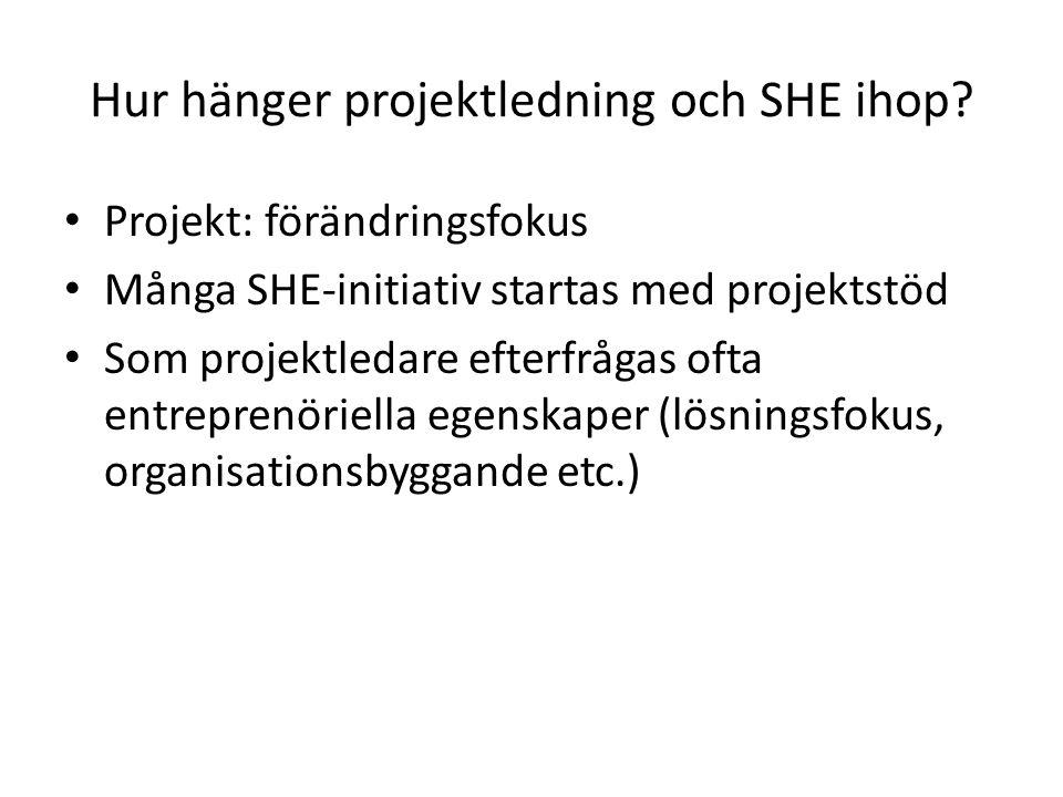 Hur hänger projektledning och SHE ihop? • Projekt: förändringsfokus • Många SHE-initiativ startas med projektstöd • Som projektledare efterfrågas ofta